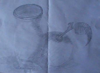 My old sketchs (2012) - 'Jug and apple' by WenexPL