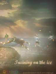 Training on the ice.