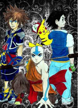 Aang, Ash and Sora
