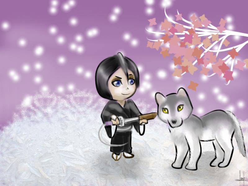 Rukia And Nymeria by chippmunk97