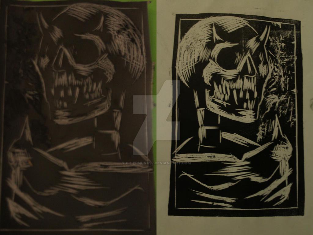 Demon's Skeleton Original Print And Plate by chippmunk97