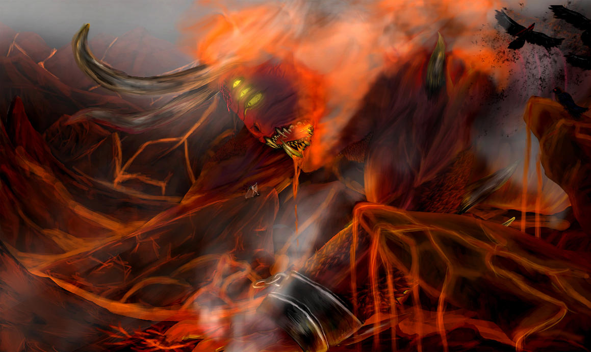 trigon and raven (hell fight) by 1meee-forever