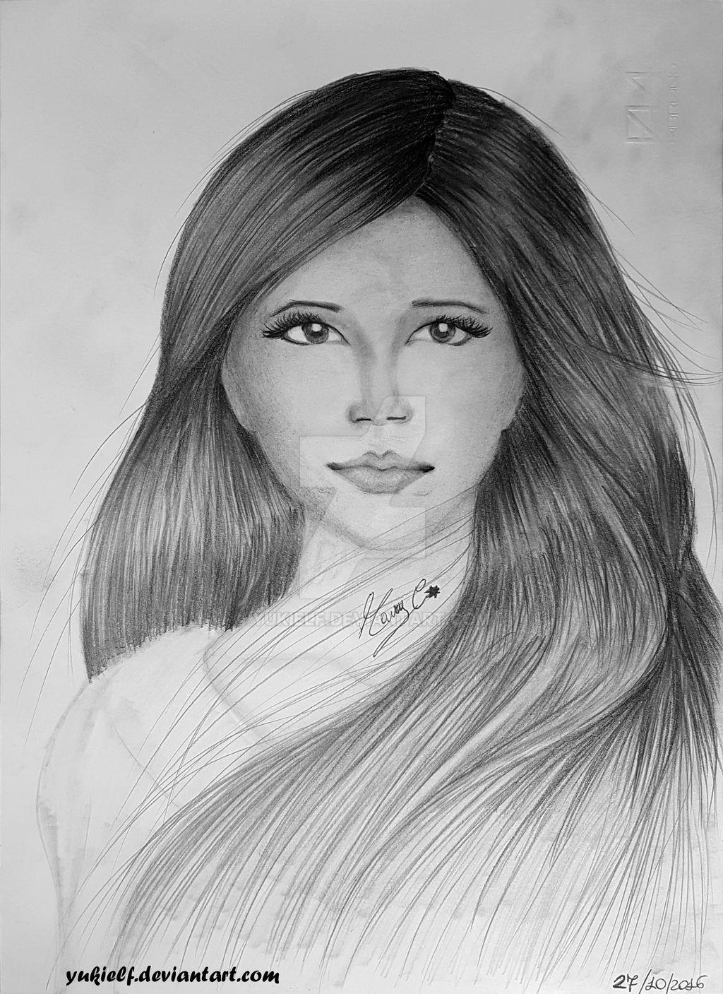 Realistic drawing - female face, long hair :) by Yukielf ...