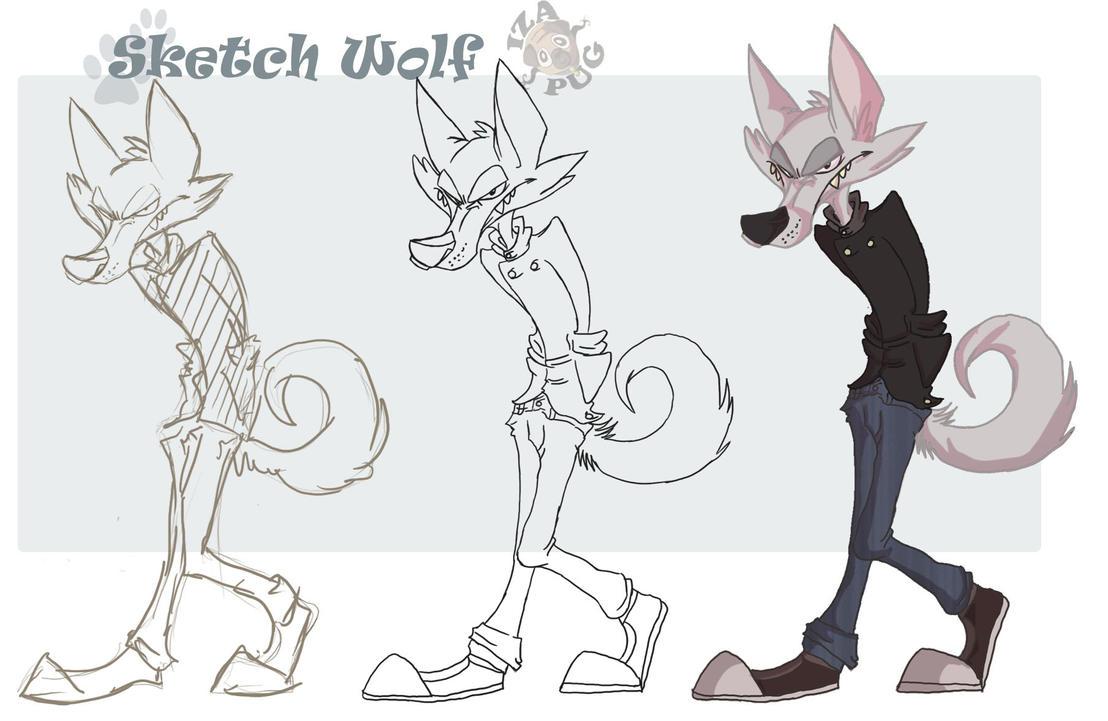 sketch cartoon wolf by IzaPug on DeviantArt