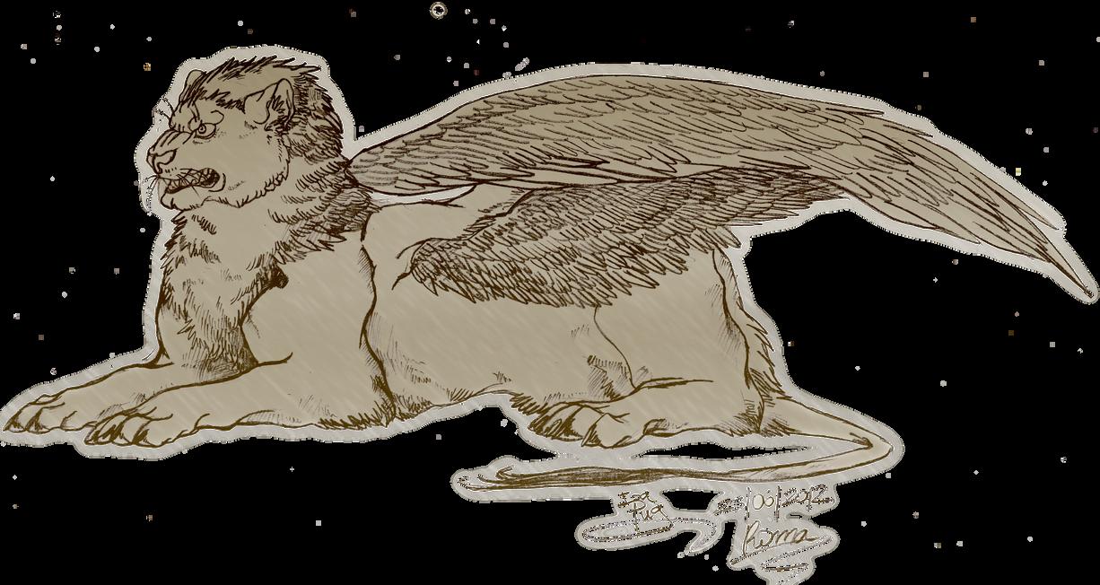Line Art Lion : Winged lion by izapug on deviantart