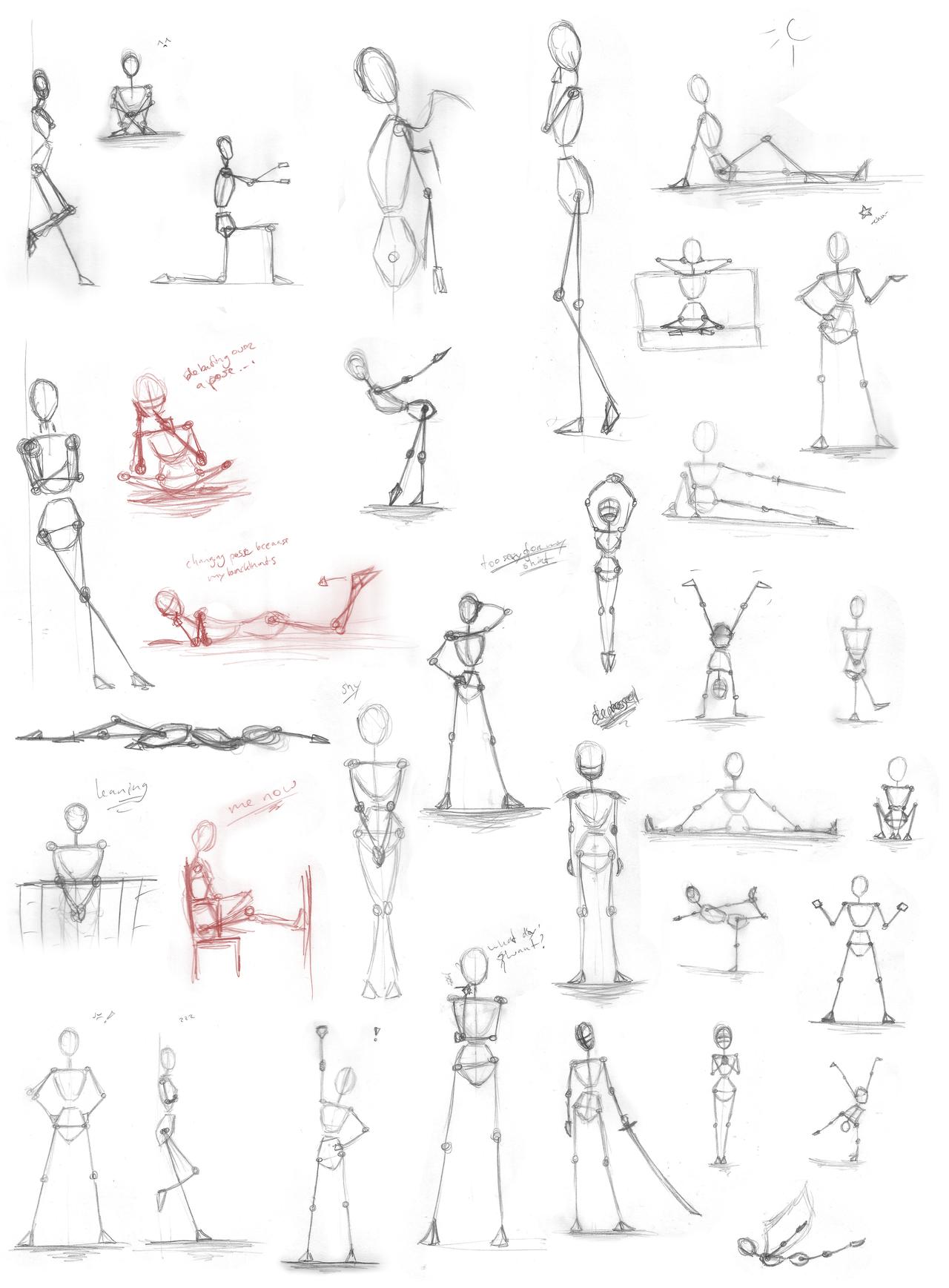 Pose Practice stick-figures by Iduna-Haya on DeviantArt