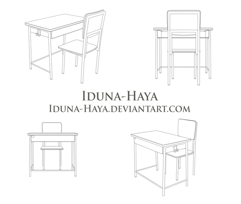 school chair drawing. Simple Chair School Desk And Chair Various Angles By IdunaHaya  Inside Drawing W