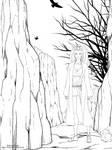 Lineart: Miyo on the road by Iduna-Haya