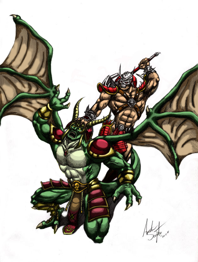 Shao Kahn vs. Onaga by soysaurus1 on DeviantArt