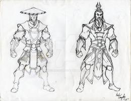 Elder God Raiden and Shang Tsung Concepts. WIP