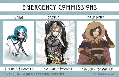 Emergency Commissions by PhallseAnghell