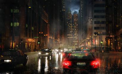 City Street (pre lightning) by Aeflus