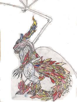 Elemental fire wolf spirit