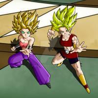 Caulifla (SS2) And Kale (LSS) - Fighting
