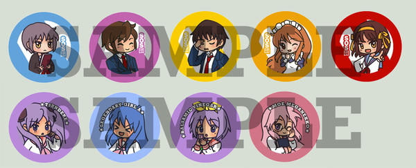 Lucky Star and Haruhi Button by superdonut