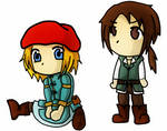 Ezio and Leonardo Chibi