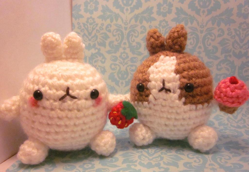 Amigurumi Chibi Doll : Two molang the rabbit bunny amigurumi crochet doll by spudsstitches