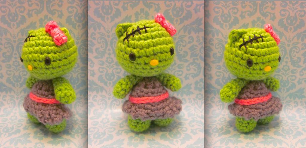 Zombie Frankenstein Hello Kitty Amigurumi Crochet By Spudsstitches