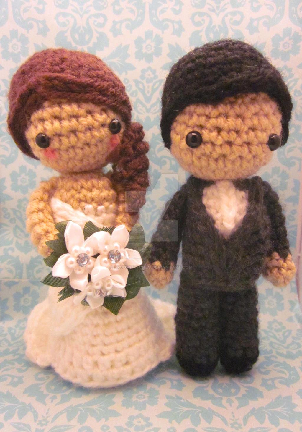 Crochet Wedding Amigurumi Patterns : Bride and Groom Wedding Amigurumi Crochet Doll Set by ...