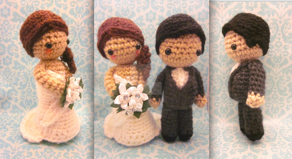Free Amigurumi Wedding Couple Pattern : Bride and groom amigurumi crochet pattern for two