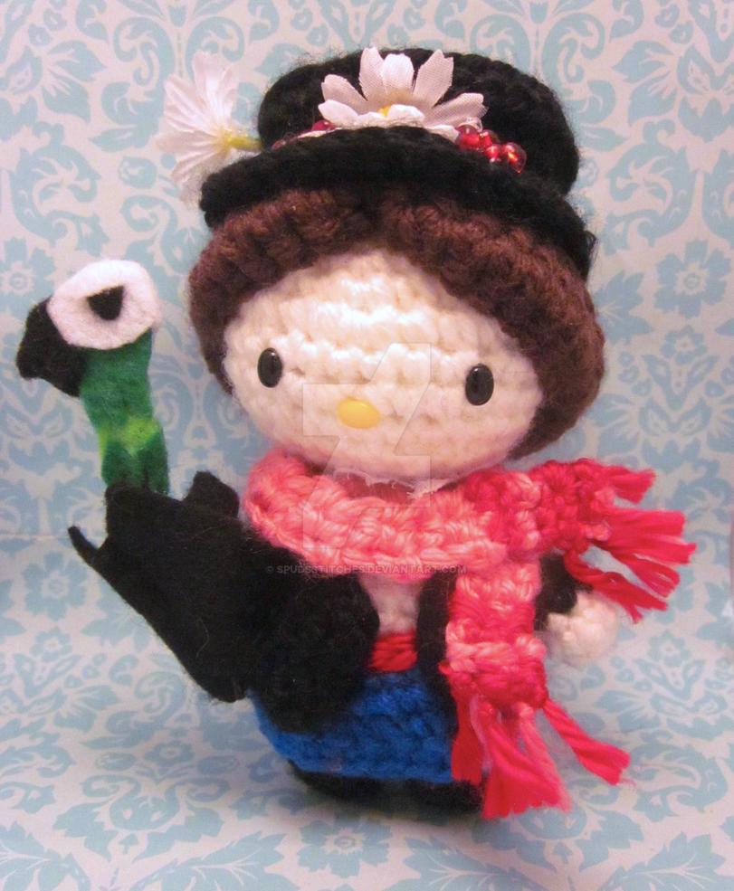 Crochet Doll Hat Pattern Free : Mary Poppins Hello Kitty Amigurumi Crochet Doll by ...