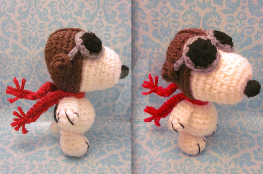 Amigurumi Patterns Snoopy : Wee lil flying ace snoopy amigurumi crochet doll 2 by spudsstitches
