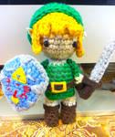 Link Zelda Amigurumi Doll With Shield and Sword