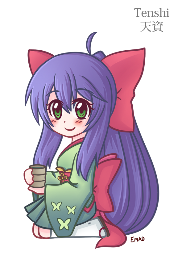 Chibi Tenshi drinking tea by EmadGfx
