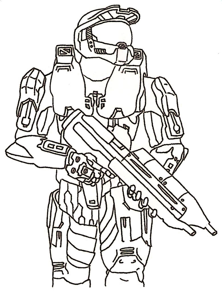 Master chief painted by me by piolin117 on deviantart for Master chief coloring pages