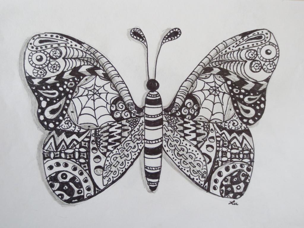 Small zentangle butterfly by luzillaZentangles Butterfly