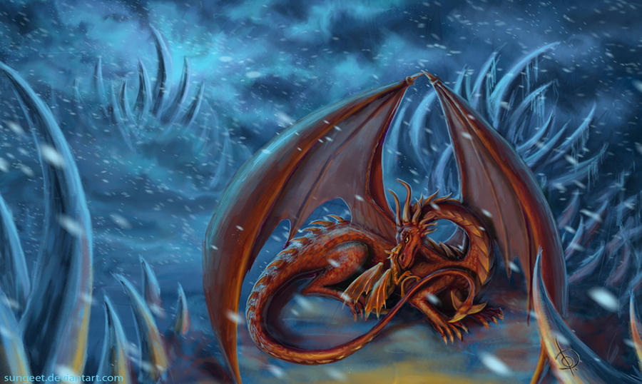Red Dragon in the ice desert by Sungeet