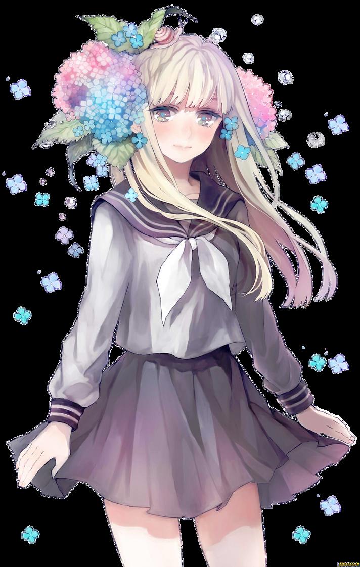 Anime girl flower by bakachan031