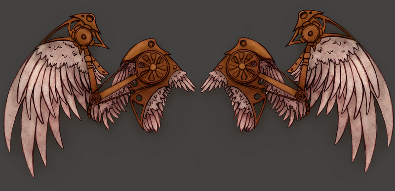 Steampunk Angel Wings Tee Design by Zephyr-Aryn