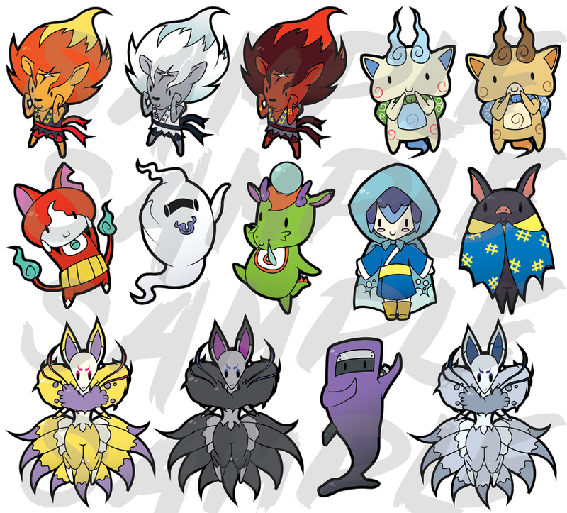 Piqueraj 106 23 yokaiderps derpy yo kai watch sticker designs by zephyr aryn