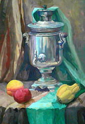 still life with samovar and fruits by zelionka