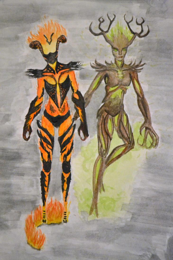 Flame Atronach and Spriggan by MollyRai