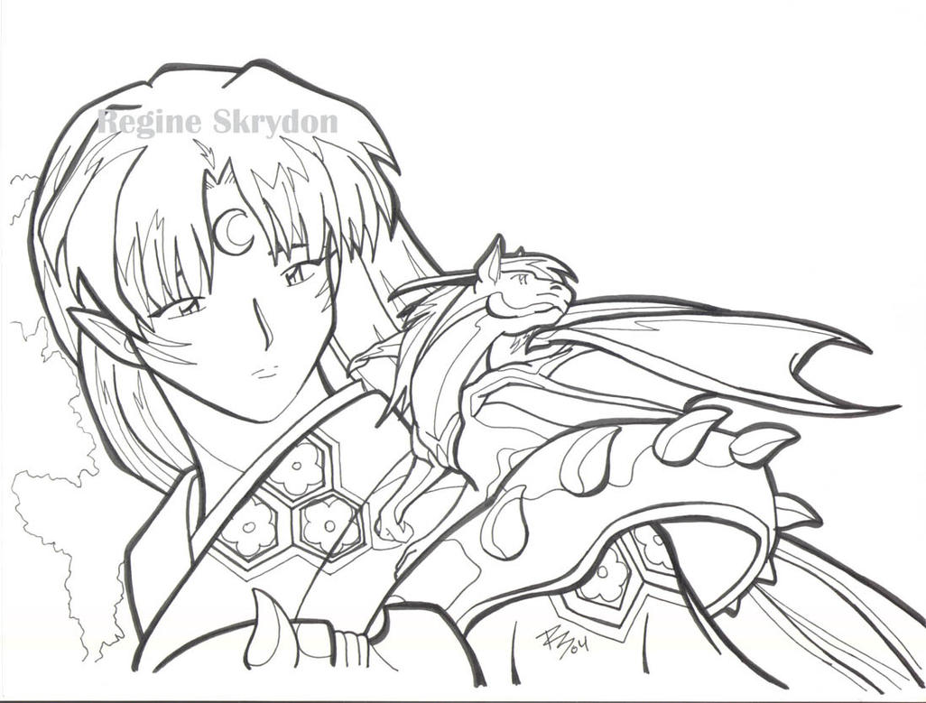 Inu Yasha Sess Dragon Lineart By RegineSkrydon