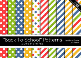 Back To School Dots And Stripes Patterns