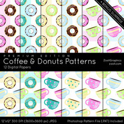 Coffee And Donuts Patterns Premium Edition