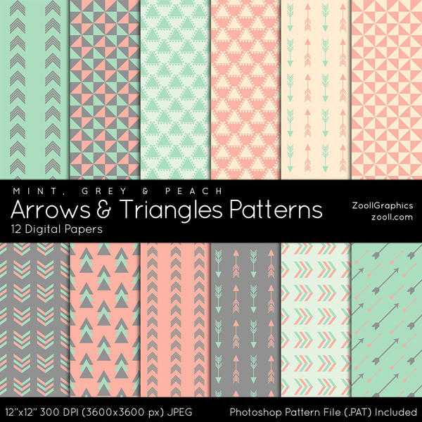 Arrows And Triangles Patterns by MysticEmma