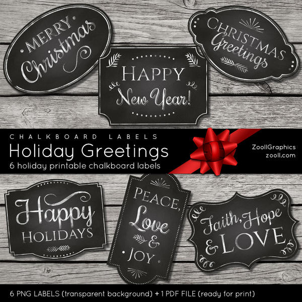 Chalkboard Labels Holiday Greetings by MysticEmma