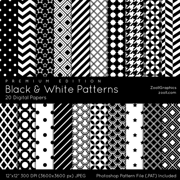 Black and white patterns to