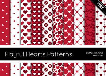 Playful Hearts Patterns by MysticEmma