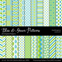 Blue And Green Patterns by MysticEmma