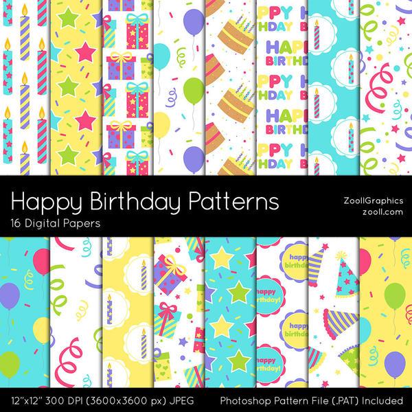Happy Birthday Patterns by MysticEmma