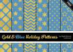 Gold And Blue Holiday Patterns