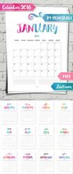 Calendar 2016 A4 Printable by MysticEmma
