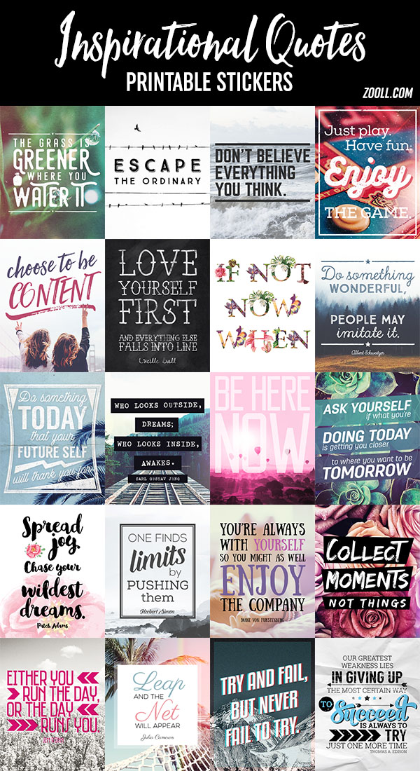 Inspirational Quotes Printable Stickers by MysticEmma on ...