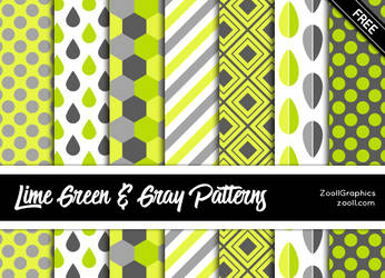 Lime Green And Gray Patterns by MysticEmma