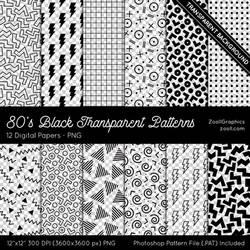 80's Black Transparent Patterns